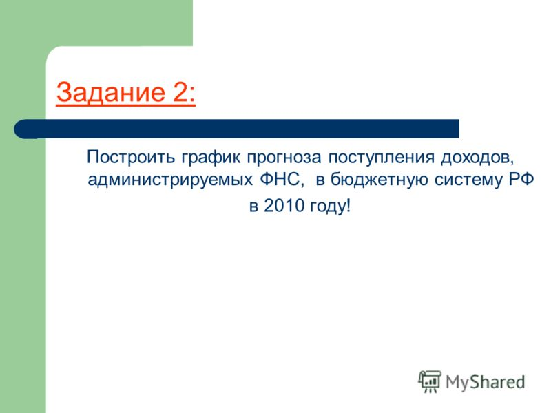 Задание 2: Построить график прогноза поступления доходов, администрируемых ФНС, в бюджетную систему РФ в 2010 году!