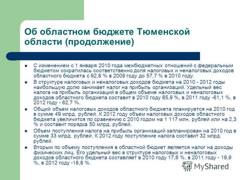 Об областном бюджете Тюменской области (продолжение) С изменением с 1 января 2010 года межбюджетных отношений с федеральным бюджетом сократилась соответственно доля налоговых и неналоговых доходов областного бюджета с 92,8 % в 2009 году до 57,7 % в 2