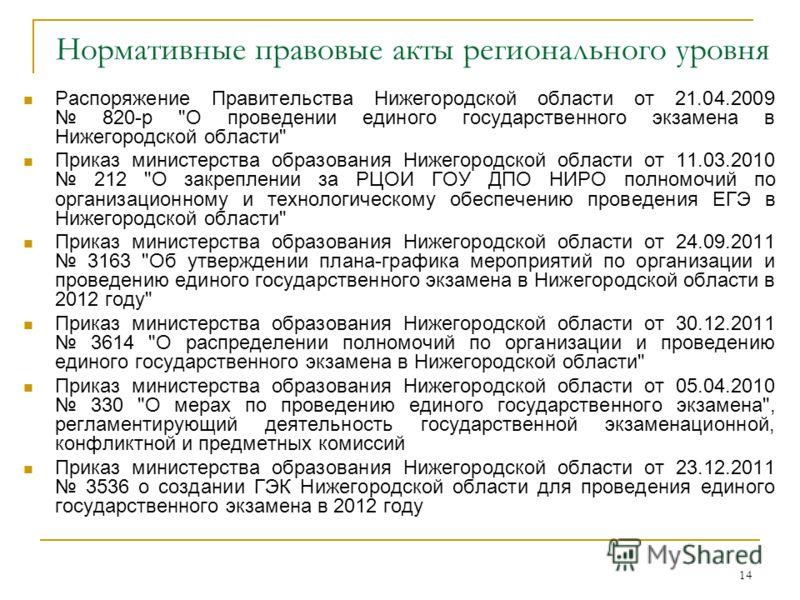 14 Нормативные правовые акты регионального уровня Распоряжение Правительства Нижегородской области от 21.04.2009 820-р