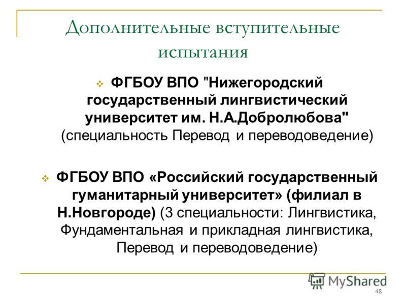 48 Дополнительные вступительные испытания ФГБОУ ВПО