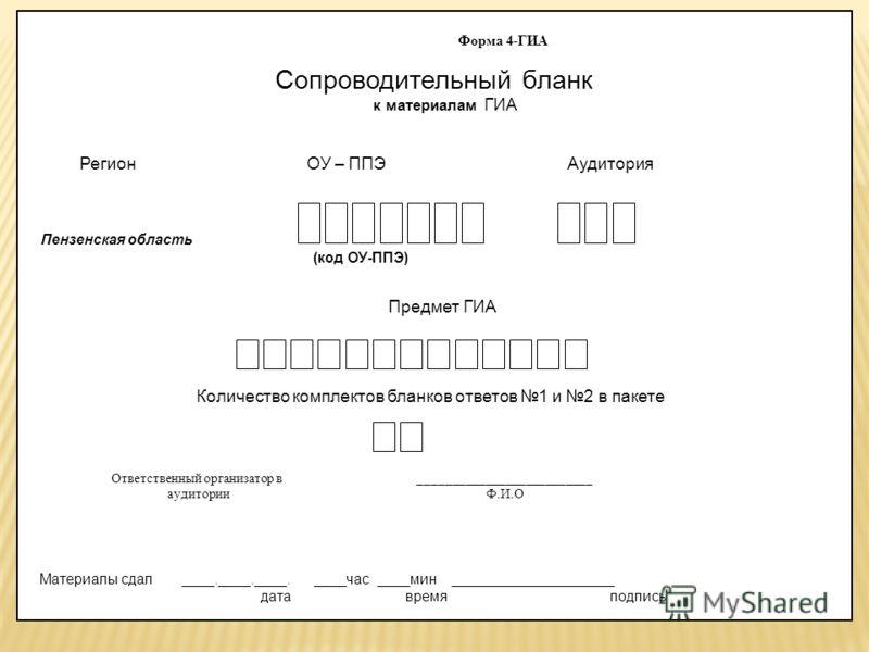Форма 4-ГИА Сопроводительный бланк к материалам ГИА Регион ОУ – ППЭ Аудитория Пензенская область (код ОУ-ППЭ) Предмет ГИА Количество комплектов бланков ответов 1 и 2 в пакете Ответственный организатор в __________________________ аудитории Ф.И.О Мате