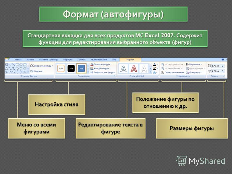ВидВид Стандартная вкладка для всех продуктов МС Excel 2007. Содержит настройки для оптимизации общей работы с документом Режимы просмотра книги Настройки окна МасштабМасштаб МакросыМакросы