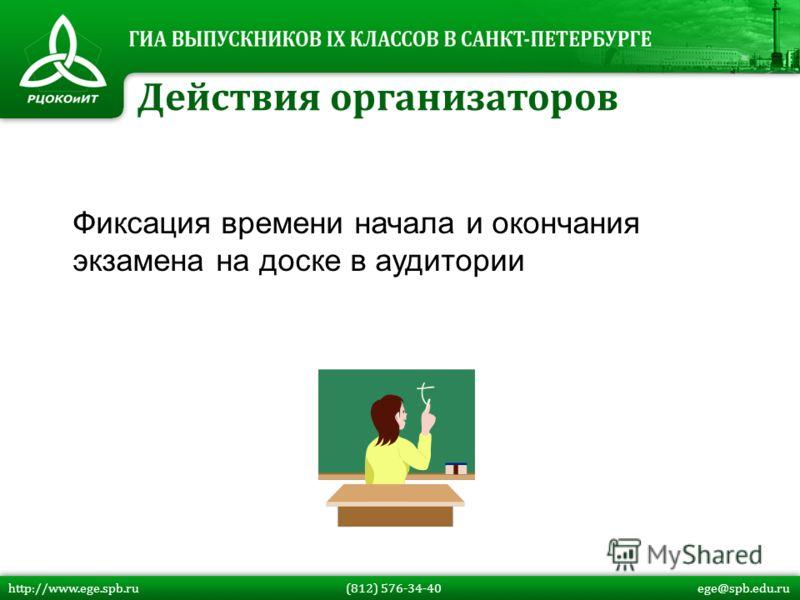 Фиксация времени начала и окончания экзамена на доске в аудитории Действия организаторов http://www.ege.spb.ru (812) 576-34-40 ege@spb.edu.ru