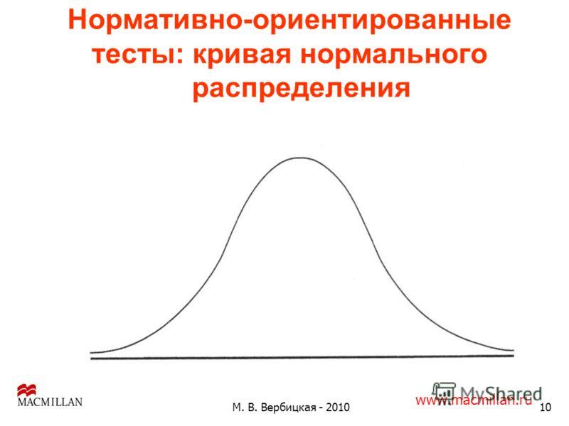 Нормативно-ориентированные тесты: кривая нормального распределения 10М. В. Вербицкая - 2010 www.macmillan.ru