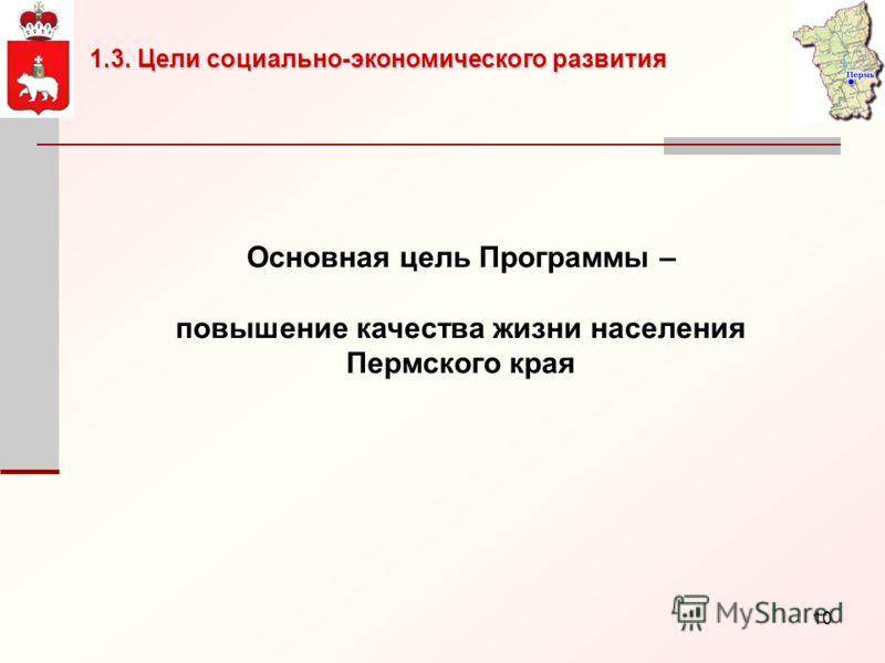 10 Основная цель Программы – повышение качества жизни населения Пермского края 1.3. Цели социально-экономического развития
