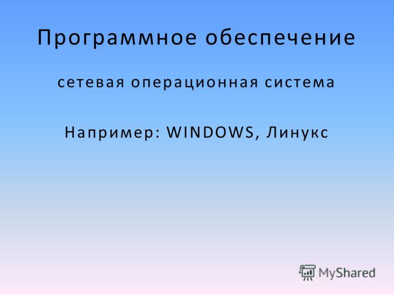 Программное обеспечение сетевая операционная система Например: WINDOWS, Линукс