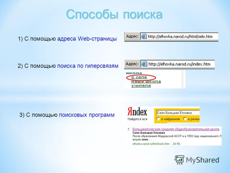 Способы поиска 1) С помощью адреса Web-страницы 2) С помощью поиска по гиперсвязям 3) С помощью поисковых программ