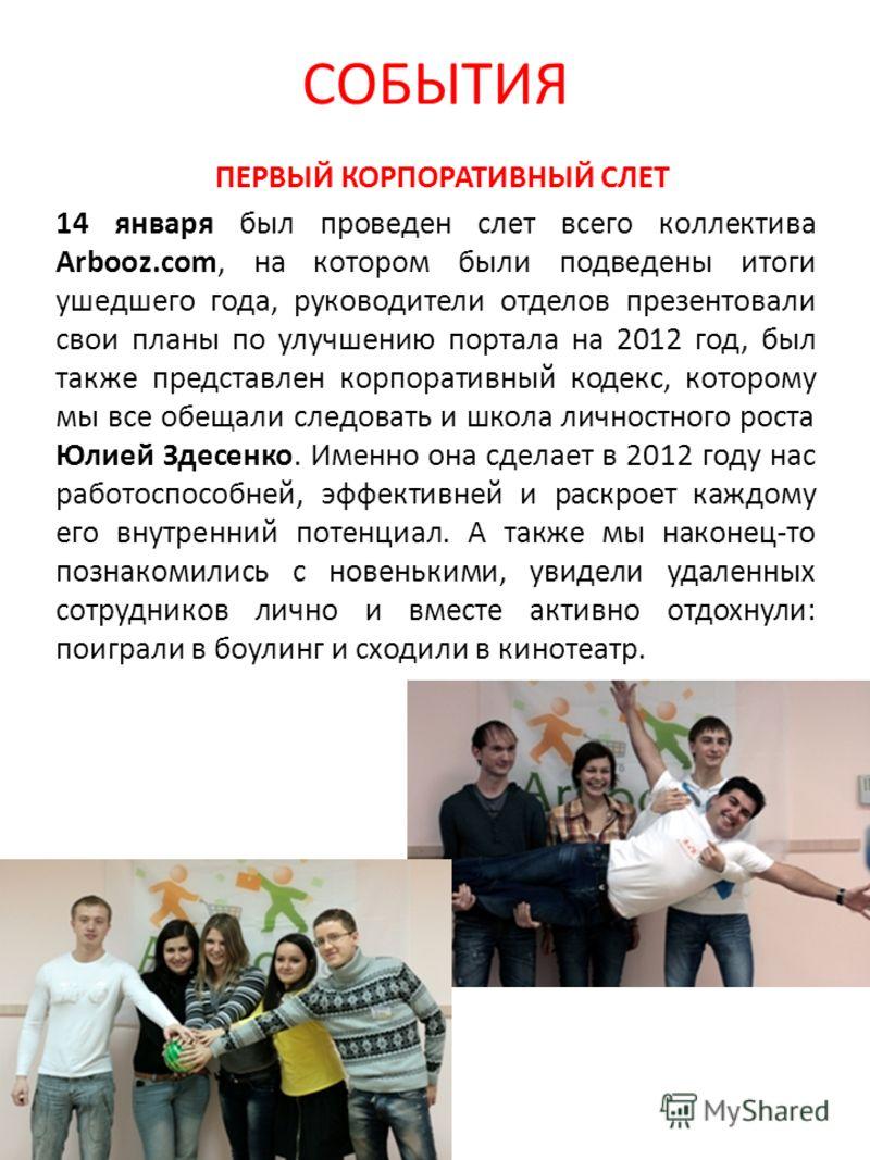 СОБЫТИЯ ПЕРВЫЙ КОРПОРАТИВНЫЙ СЛЕТ 14 января был проведен слет всего коллектива Arbooz.com, на котором были подведены итоги ушедшего года, руководители отделов презентовали свои планы по улучшению портала на 2012 год, был также представлен корпоративн