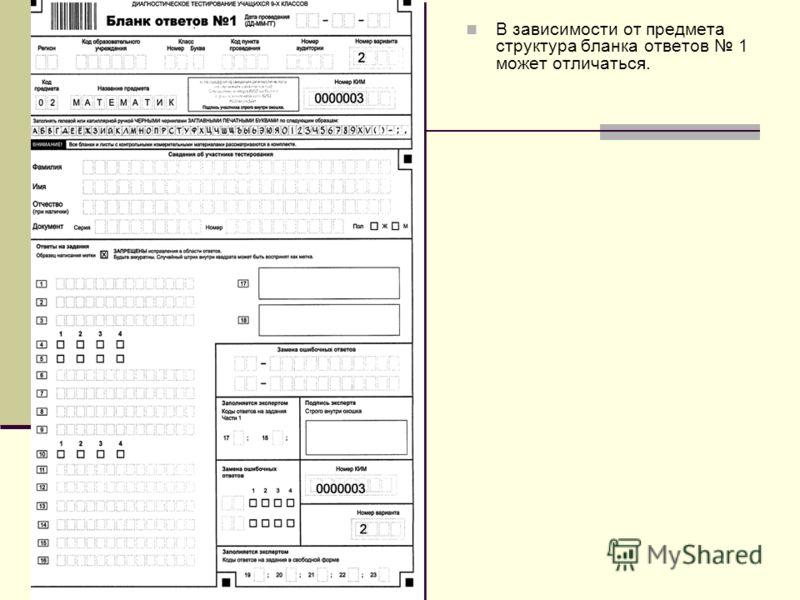 В зависимости от предмета структура бланка ответов 1 может отличаться.