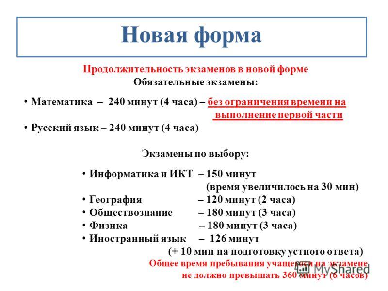 Новая форма Продолжительность экзаменов в новой форме Обязательные экзамены: Математика – 240 минут (4 часа) – без ограничения времени на выполнение первой части Русский язык – 240 минут (4 часа) Экзамены по выбору: Информатика и ИКТ – 150 минут (вре