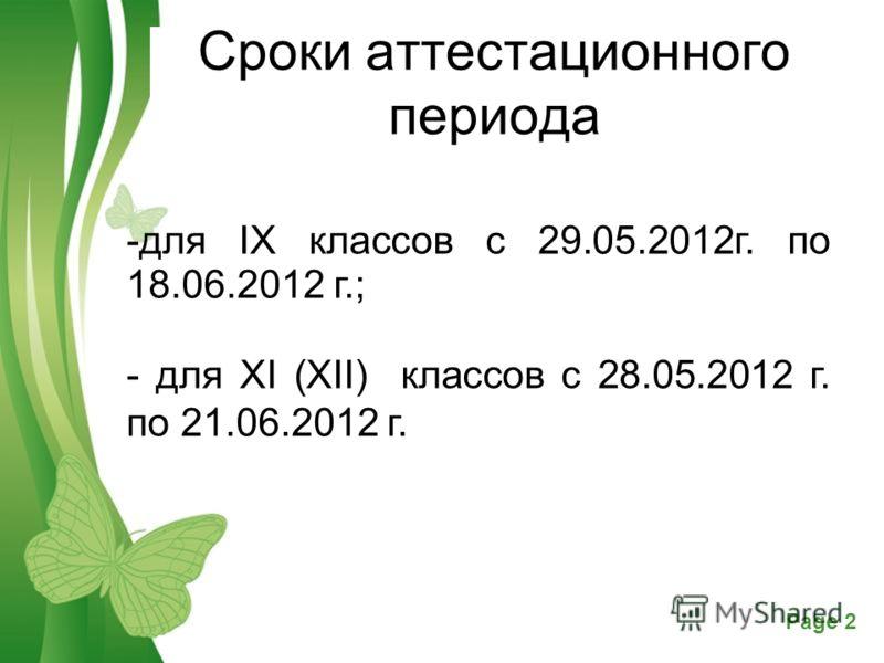Free Powerpoint TemplatesPage 2 Сроки аттестационного периода -для IX классов с 29.05.2012г. по 18.06.2012 г.; - для XI (XII) классов с 28.05.2012 г. по 21.06.2012 г.