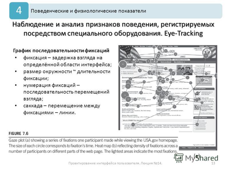 Проектирование интерфейса пользователя. Лекция 14.13 Наблюдение и анализ признаков поведения, регистрируемых посредством специального оборудования. Eye-Tracking Поведенческие и физиологические показатели 4 График последовательности фиксаций фиксация