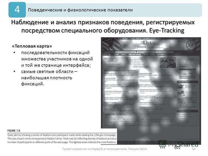 Проектирование интерфейса пользователя. Лекция 14.14 Наблюдение и анализ признаков поведения, регистрируемых посредством специального оборудования. Eye-Tracking Поведенческие и физиологические показатели 4 «Тепловая карта» последовательности фиксаций
