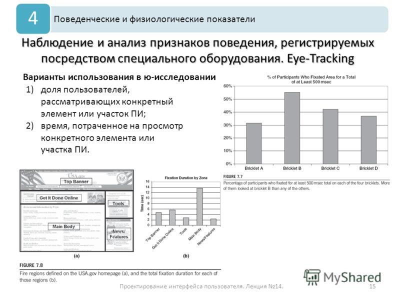 Проектирование интерфейса пользователя. Лекция 14.15 Наблюдение и анализ признаков поведения, регистрируемых посредством специального оборудования. Eye-Tracking Поведенческие и физиологические показатели 4 Варианты использования в ю-исследовании 1)до