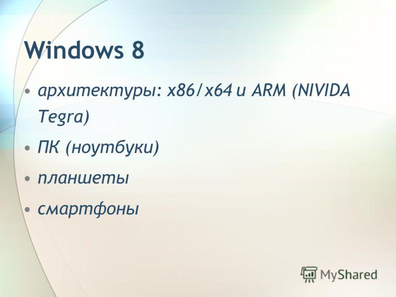 архитектуры: x86/x64 и ARM (NIVIDA Tegra) ПК (ноутбуки) планшеты смартфоны Windows 8