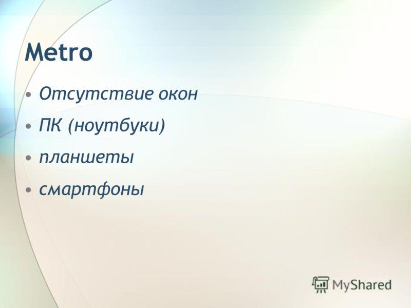 Отсутствие окон ПК (ноутбуки) планшеты смартфоны Metro