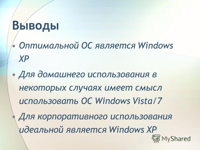Оптимальной ОС является Windows XP Для домашнего использования в некоторых случаях имеет смысл использовать ОС Windows Vista/7 Для корпоративного использования идеальной является Windows XP Выводы