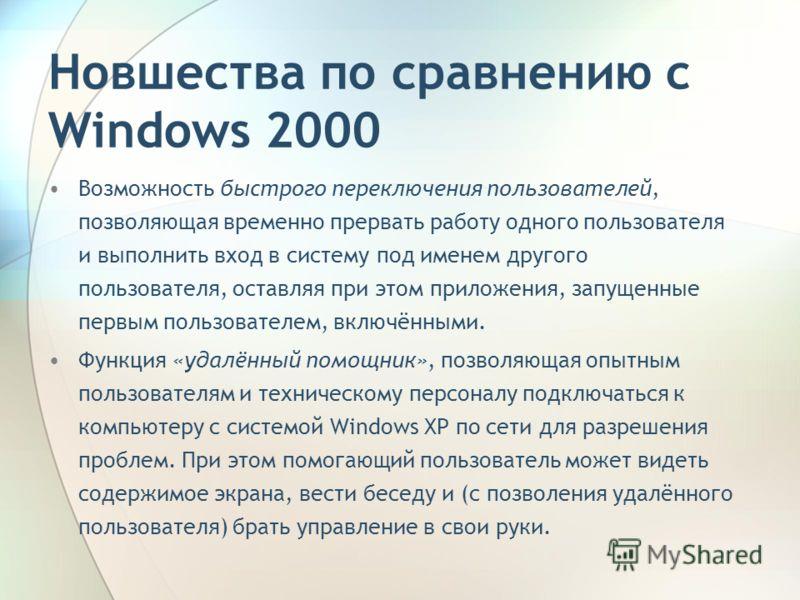 Новшества по сравнению с Windows 2000 Возможность быстрого переключения пользователей, позволяющая временно прервать работу одного пользователя и выполнить вход в систему под именем другого пользователя, оставляя при этом приложения, запущенные первы