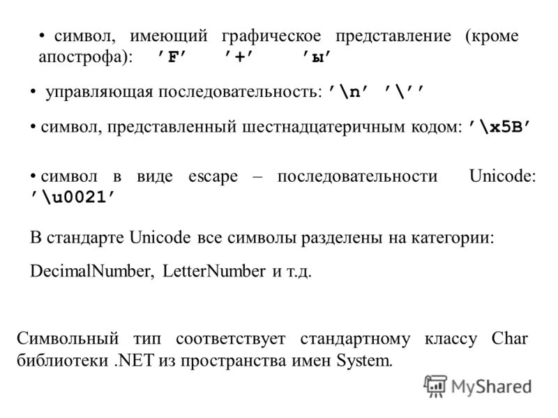Символьный тип соответствует стандартному классу Char библиотеки.NET из пространства имен System. символ, имеющий графическое представление (кроме апострофа): F + ы управляющая последовательность:\n \ символ, представленный шестнадцатеричным кодом: \