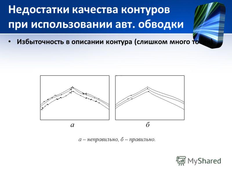 Недостатки качества контуров при использовании авт. обводки Избыточность в описании контура (слишком много точек) а – неправильно, б – правильно.