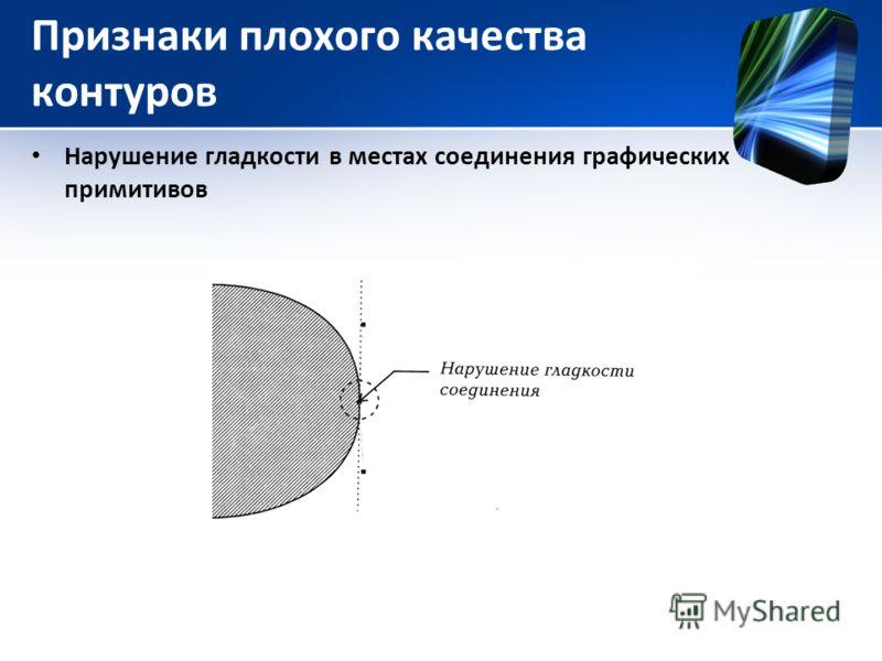 Признаки плохого качества контуров Нарушение гладкости в местах соединения графических примитивов