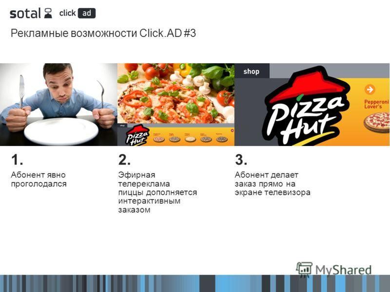 Рекламные возможности Click.AD #3 2. Эфирная телереклама пиццы дополняется интерактивным заказом 3. Абонент делает заказ прямо на экране телевизора 1. Абонент явно проголодался