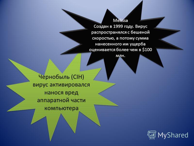 Чернобыль (CIH) вирус активировался нанося вред аппаратной части компьютера Melissa Создан в 1999 году. Вирус распространялся с бешеной скоростью, а потому сумма нанесенного им ущерба оценивается более чем в $100 млн. Melissa Создан в 1999 году. Виру