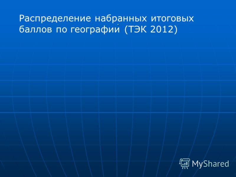 . Распределение набранных итоговых баллов по географии (ТЭК 2012)