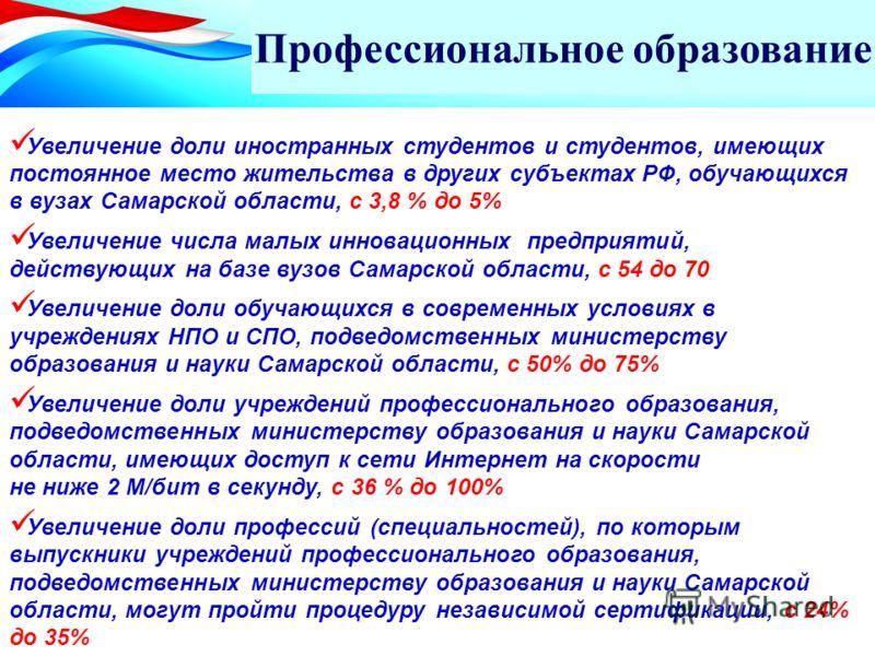 Профессиональное образование Увеличение доли иностранных студентов и студентов, имеющих постоянное место жительства в других субъектах РФ, обучающихся в вузах Самарской области, с 3,8 % до 5% Увеличение числа малых инновационных предприятий, действую