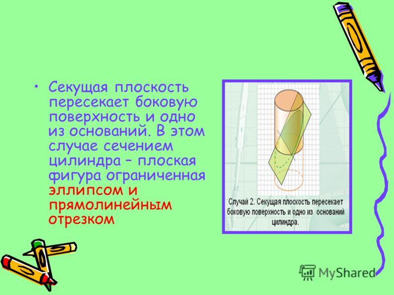 Секущая плоскость пересекает боковую поверхность и одно из оснований. В этом случае сечением цилиндра – плоская фигура ограниченная эллипсом и прямолинейным отрезком