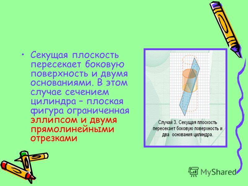 Секущая плоскость пересекает боковую поверхность и двумя основаниями. В этом случае сечением цилиндра – плоская фигура ограниченная эллипсом и двумя прямолинейными отрезками