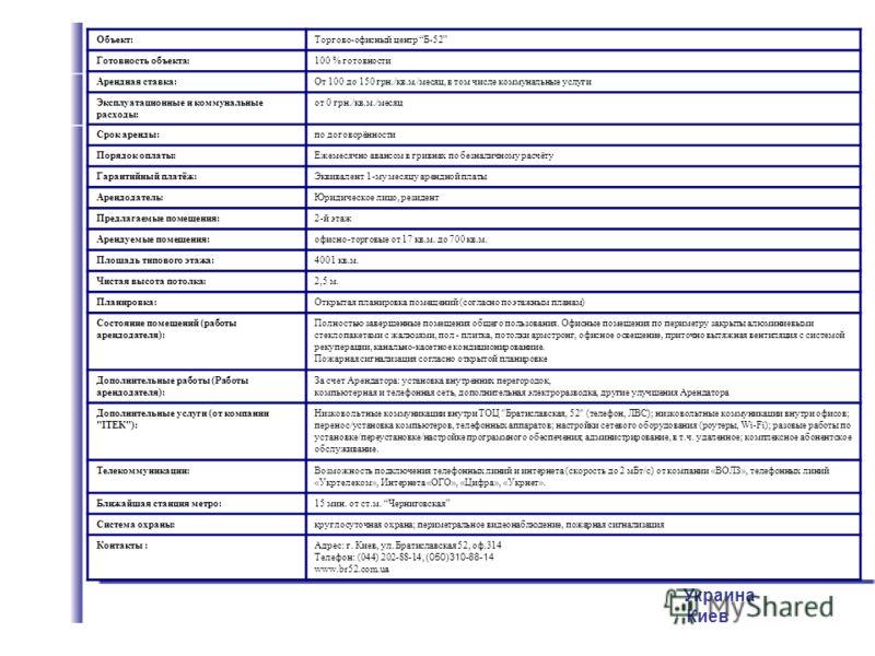 Украина Киев Объект:Торгово-офисный центр Б-52 Готовность объекта:100 % готовности Арендная ставка:От 100 до 150 грн./кв.м./месяц, в том числе коммунальные услуги Эксплуатационные и коммунальные расходы: от 0 грн./кв.м./месяц Срок аренды:по договорён