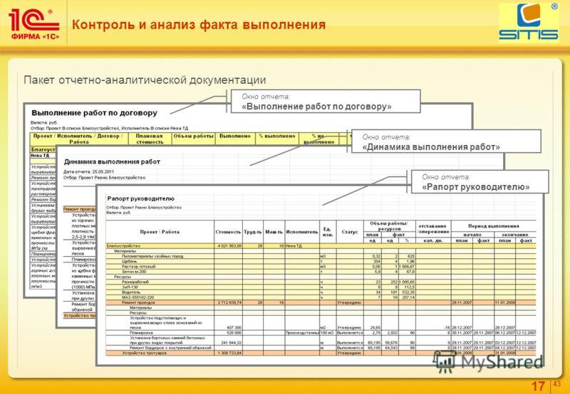 17 4343 Контроль и анализ факта выполнения Окно отчета: «Выполнение работ по договору» Окно отчета: «Динамика выполнения работ» Окно отчета: «Рапорт руководителю» Пакет отчетно-аналитической документации