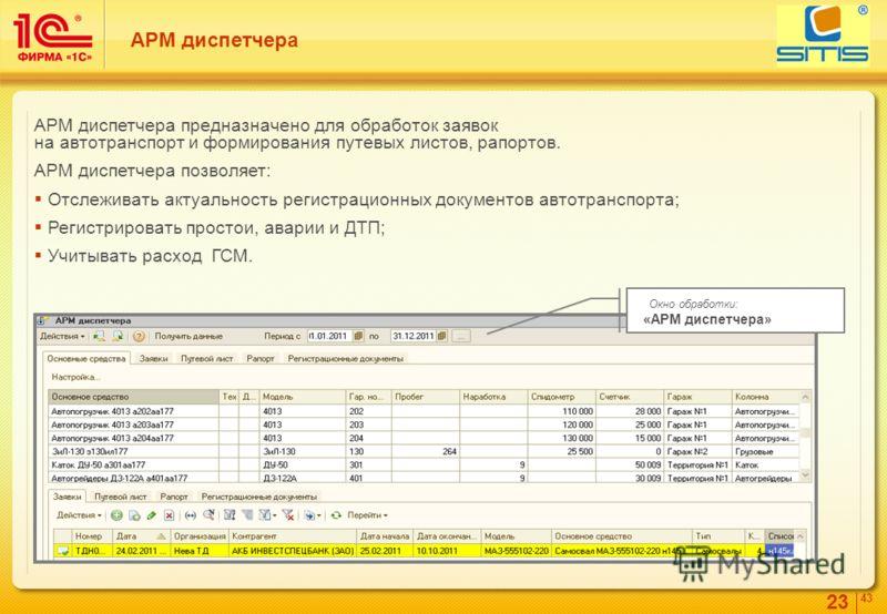 23 4343 АРМ диспетчера АРМ диспетчера предназначено для обработок заявок на автотранспорт и формирования путевых листов, рапортов. АРМ диспетчера позволяет: Отслеживать актуальность регистрационных документов автотранспорта; Регистрировать простои, а
