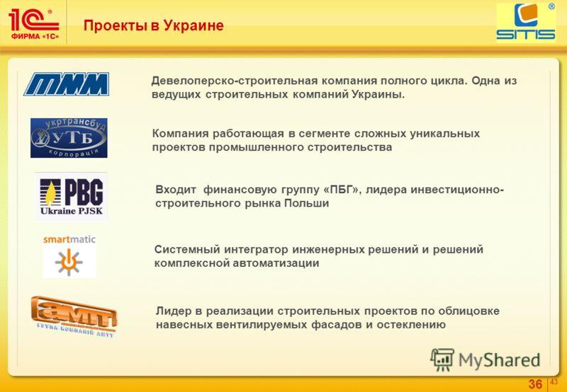 36 4343 Проекты в Украине Девелоперско-строительная компания полного цикла. Одна из ведущих строительных компаний Украины. Системный интегратор инженерных решений и решений комплексной автоматизации Лидер в реализации строительных проектов по облицов