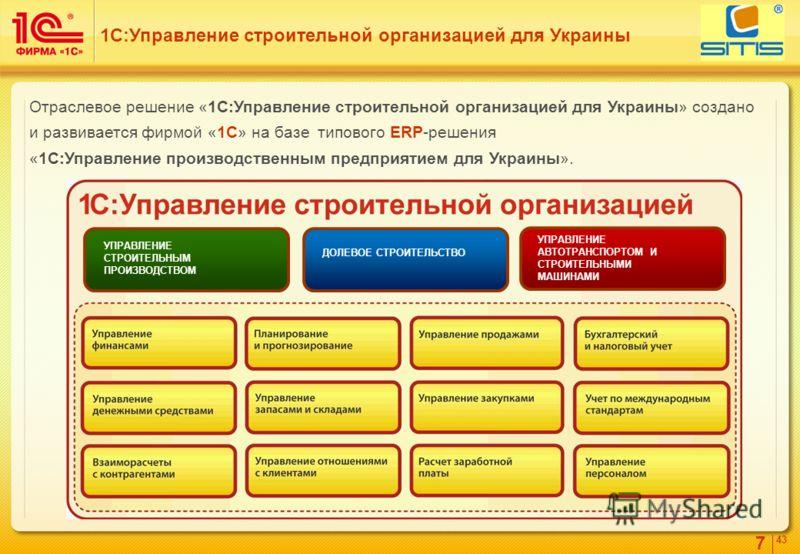 7 4343 Отраслевое решение «1С:Управление строительной организацией для Украины» создано и развивается фирмой «1С» на базе типового ERP-решения «1С:Управление производственным предприятием для Украины». 1С:Управление строительной организацией для Укра