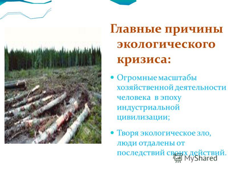 Главные причины экологического кризиса: Огромные масштабы хозяйственной деятельности человека в эпоху индустриальной цивилизации; Творя экологическое зло, люди отдалены от последствий своих действий.