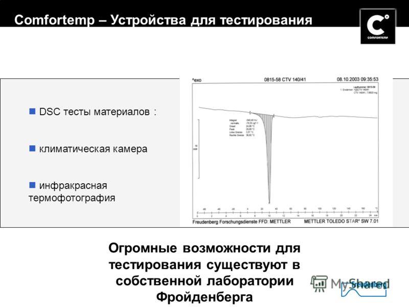 12 Огромные возможности для тестирования существуют в собственной лаборатории Фройденберга DSC тесты материалов : климатическая камера инфракрасная термофотография Comfortemp – Устройства для тестирования