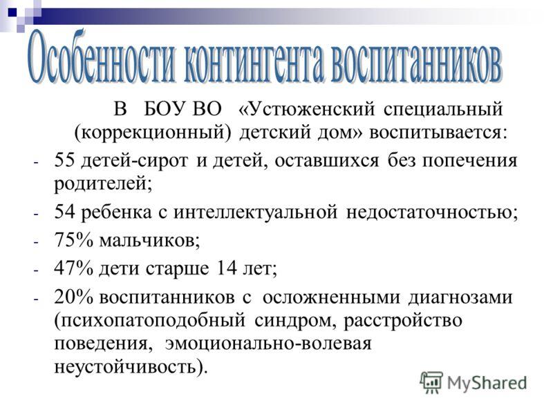 В БОУ ВО «Устюженский специальный (коррекционный) детский дом» воспитывается: - 55 детей-сирот и детей, оставшихся без попечения родителей; - 54 ребенка с интеллектуальной недостаточностью; - 75% мальчиков; - 47% дети старше 14 лет; - 20% воспитанник