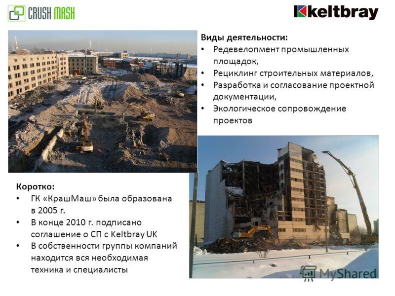 Виды деятельности: Редевелопмент промышленных площадок, Рециклинг строительных материалов, Разработка и согласование проектной документации, Экологическое сопровождение проектов Коротко: ГК «КрашМаш» была образована в 2005 г. В конце 2010 г. подписан