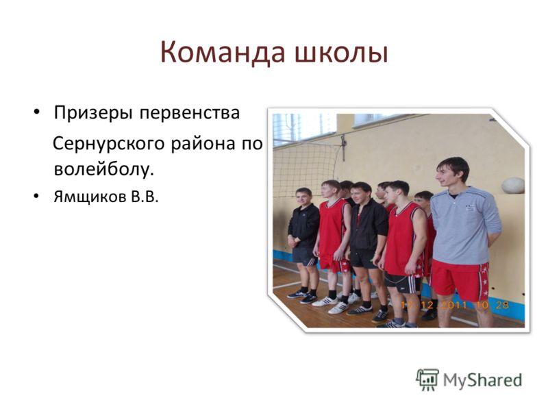 Команда школы Призеры первенства Сернурского района по волейболу. Ямщиков В.В.