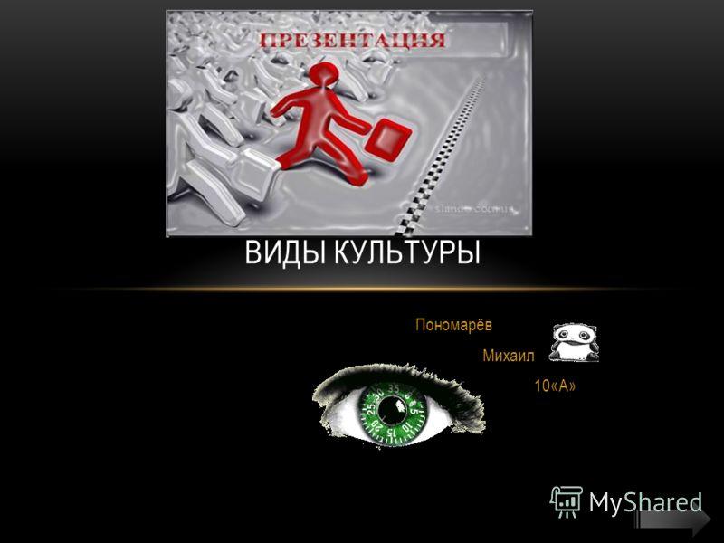 Пономарёв Михаил 10«А» ВИДЫ КУЛЬТУРЫ
