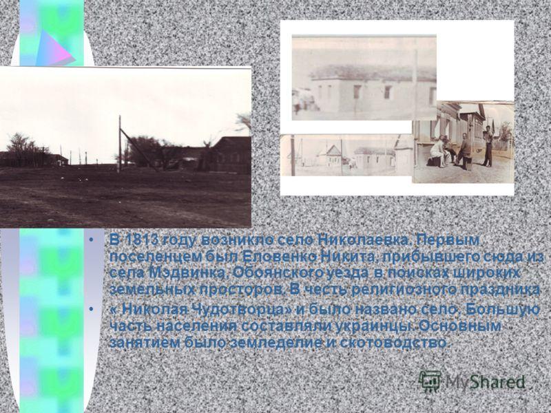 В 1813 году возникло село Николаевка. Первым поселенцем был Еловенко Никита, прибывшего сюда из села Мэдвинка, Обоянского уезда в поисках широких земельных просторов. В честь религиозного праздника « Николая Чудотворца» и было названо село. Большую ч