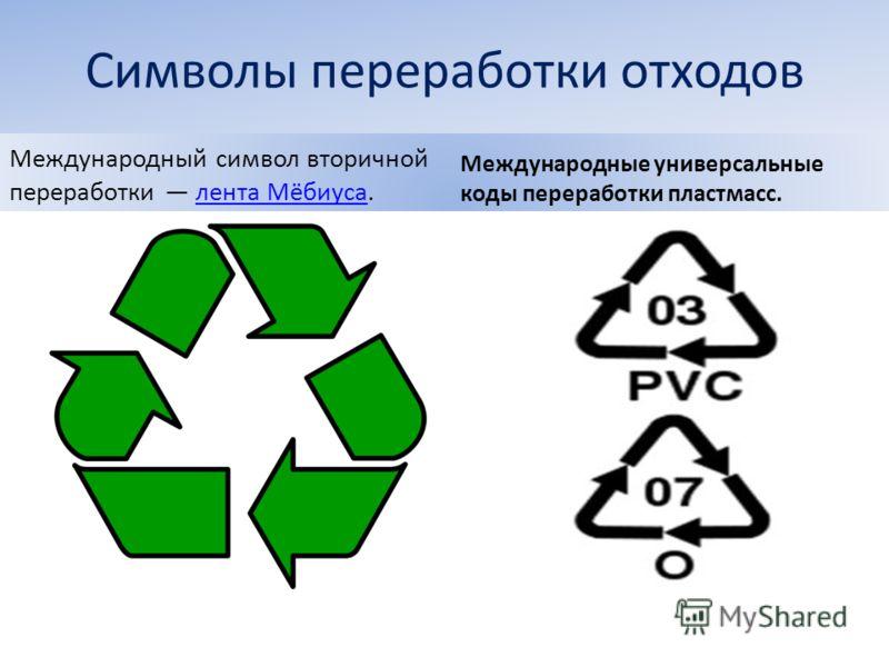 Символы переработки отходов Международный символ вторичной переработки лента Мёбиуса.лента Мёбиуса Международные универсальные коды переработки пластмасс.