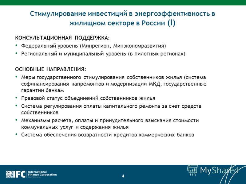 Components 4 Стимулирование инвестиций в энергоэффективность в жилищном секторе в России (I) КОНСУЛЬТАЦИОННАЯ ПОДДЕРЖКА: Федеральный уровень (Минрегион, Минэкономразвития) Региональный и муниципальный уровень (в пилотных регионах) ОСНОВНЫЕ НАПРАВЛЕНИ