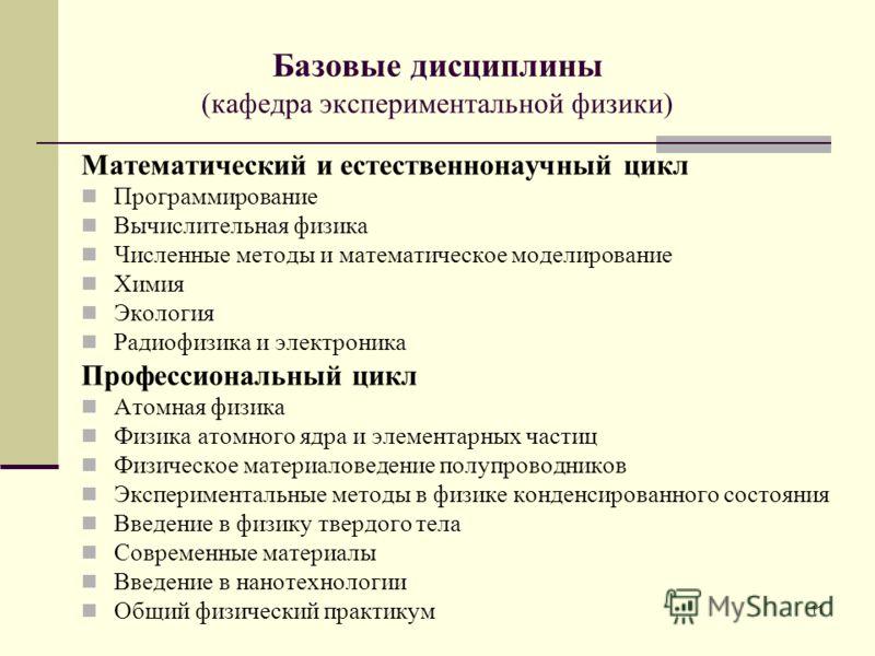 11 Базовые дисциплины (кафедра экспериментальной физики) Математический и естественнонаучный цикл Программирование Вычислительная физика Численные методы и математическое моделирование Химия Экология Радиофизика и электроника Профессиональный цикл Ат