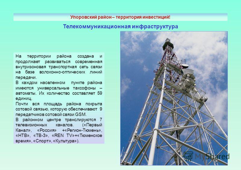 Телекоммуникационная инфраструктура На территории района создана и продолжает развиваться современная внутризоновая транспортная сеть связи на базе волоконно-оптических линий передачи. В каждом населенном пункте района имеются универсальные таксофоны