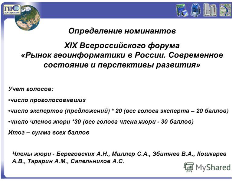 Определение номинантов XIX Всероссийского форума «Рынок геоинформатики в России. Современное состояние и перспективы развития» Учет голосов: число проголосовавших число экспертов (предложений) * 20 (вес голоса эксперта – 20 баллов) число членов жюри