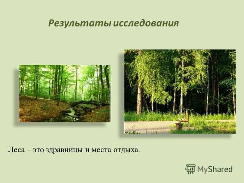 Результаты исследования Леса – это здравницы и места отдыха.
