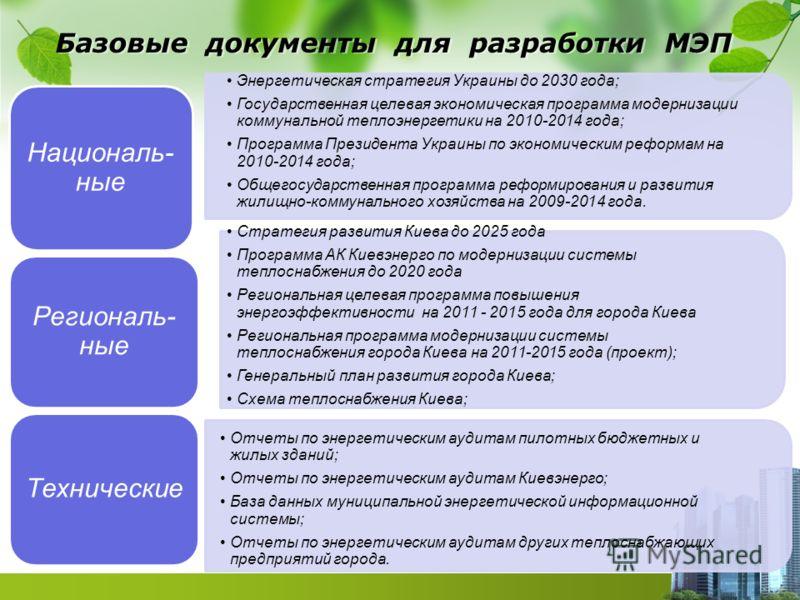 Базовые документы для разработки МЭП Националь- ные Энергетическая стратегия Украины до 2030 года; Государственная целевая экономическая программа модернизации коммунальной теплоэнергетики на 2010-2014 года; Программа Президента Украины по экономичес
